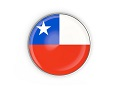 Flag of chile, round icon with metal frame isolated on white. 3D illustration