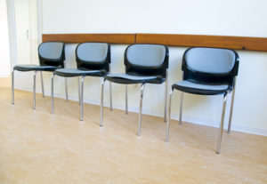 chairs in a waiting room in a hospital